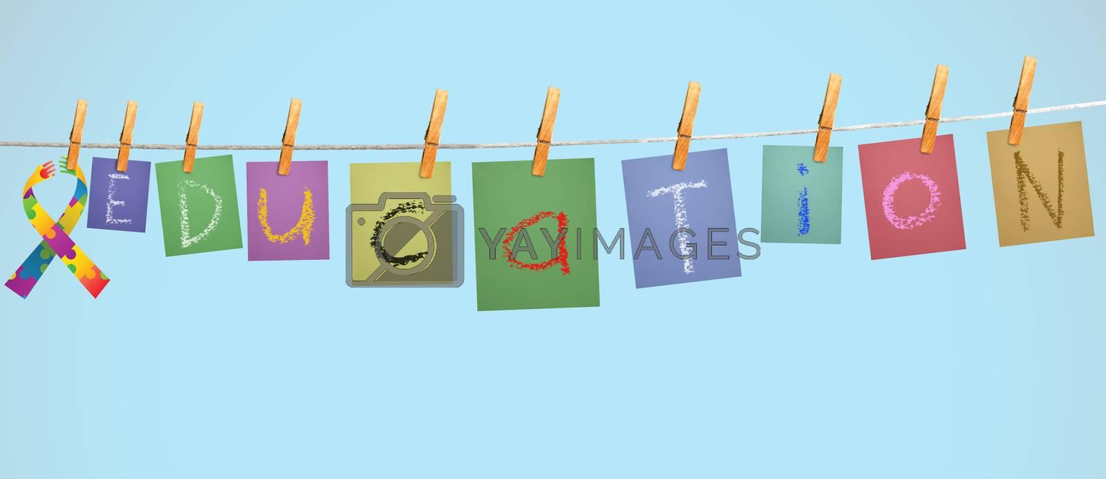 education against digitally generated grey background