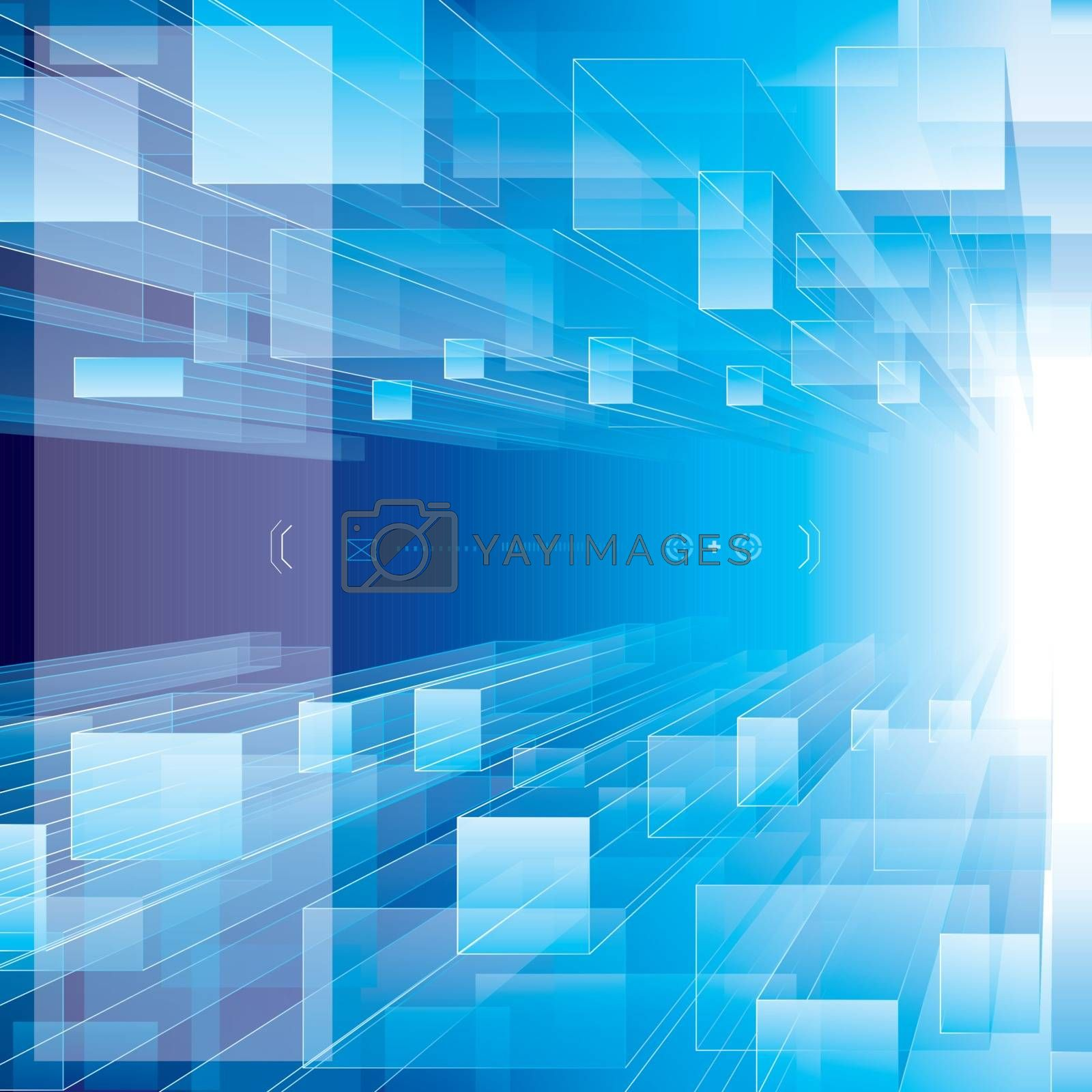 Abstract blue perspective technology background.