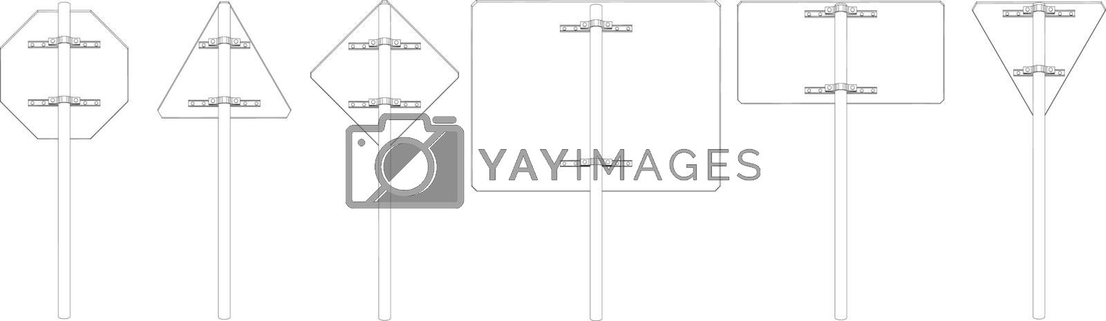 Set of wire-frame road signs. Rear view. Vector illustration rendering of 3d