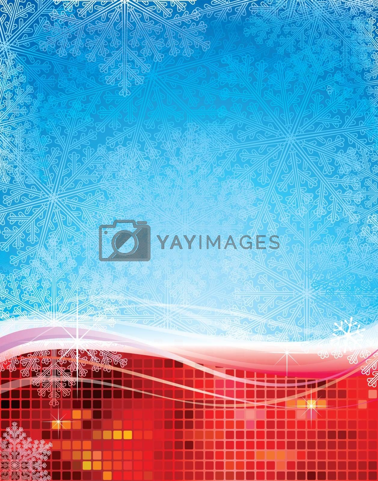 Abstract Christmas snowflakes background design.