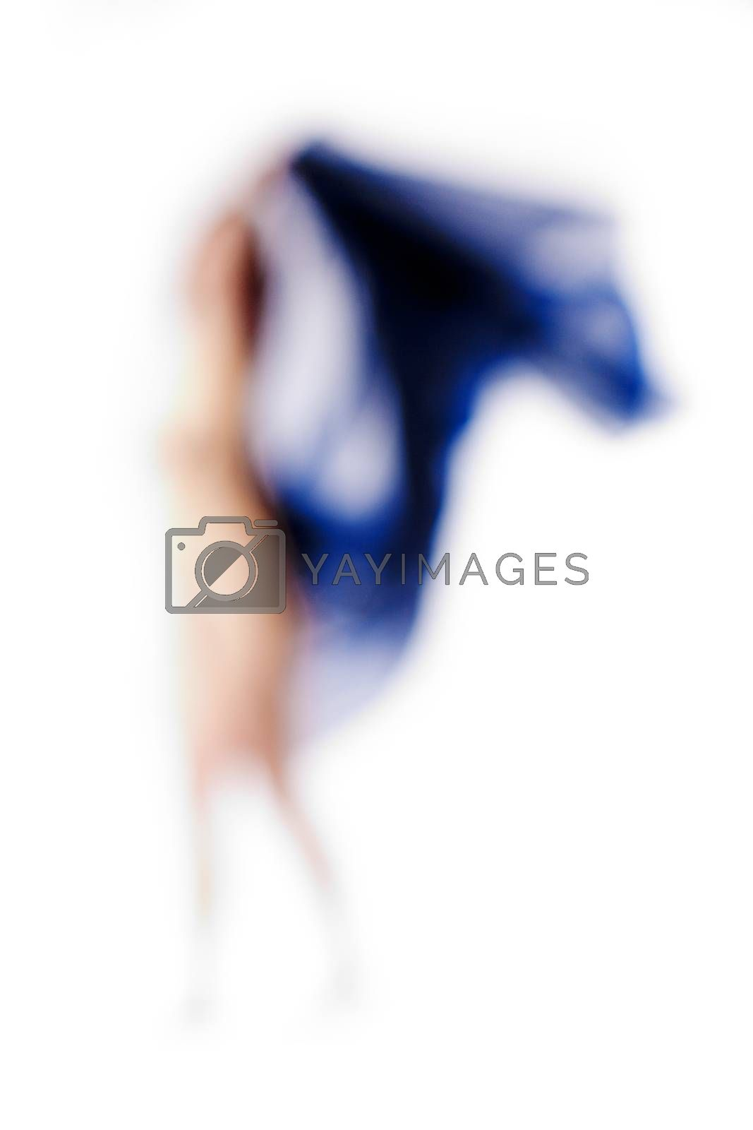 Abstract Out of Focus Image of a Woman with Blue Cloth