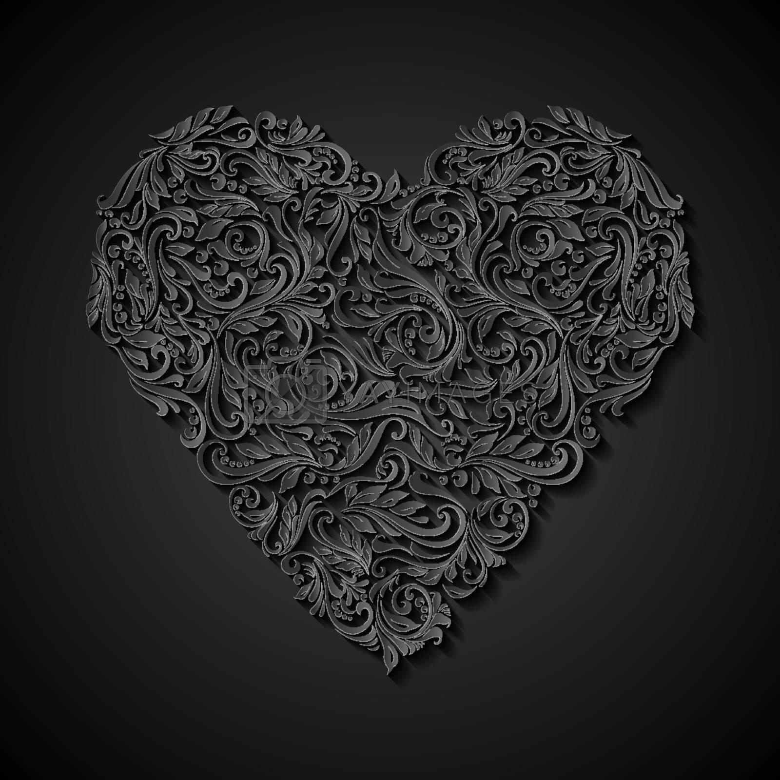 Decorative heart of the rich ornament in black