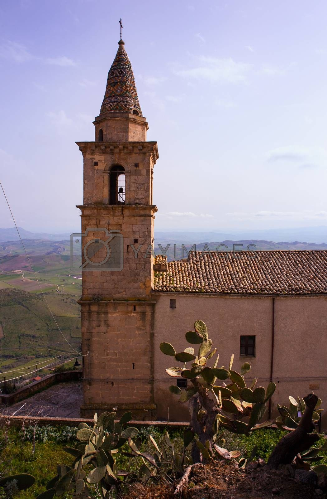 Bell tower of Santa Chiara church, Agira. Sicily