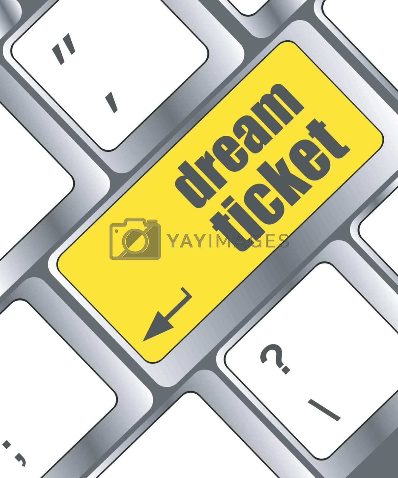 dream ticket button on computer keyboard key