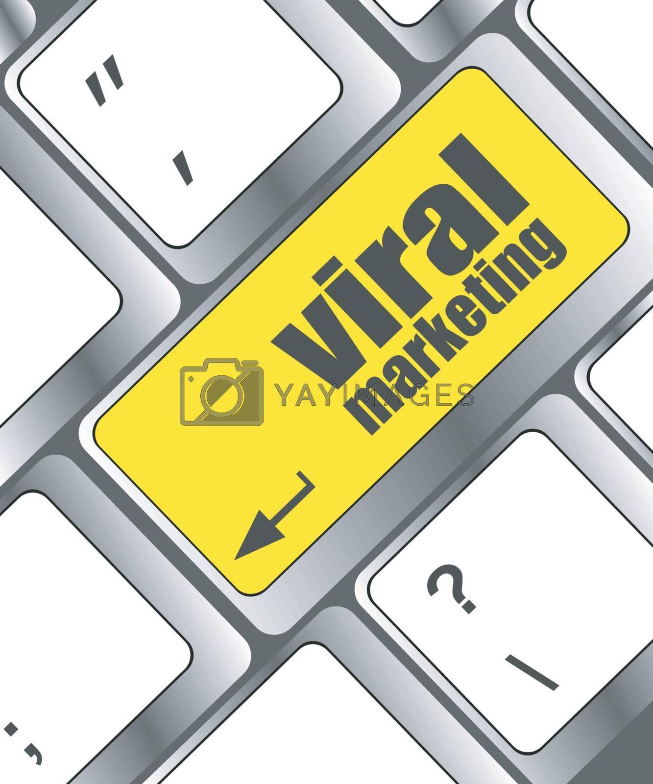viral marketing word on computer keyboard key, raster