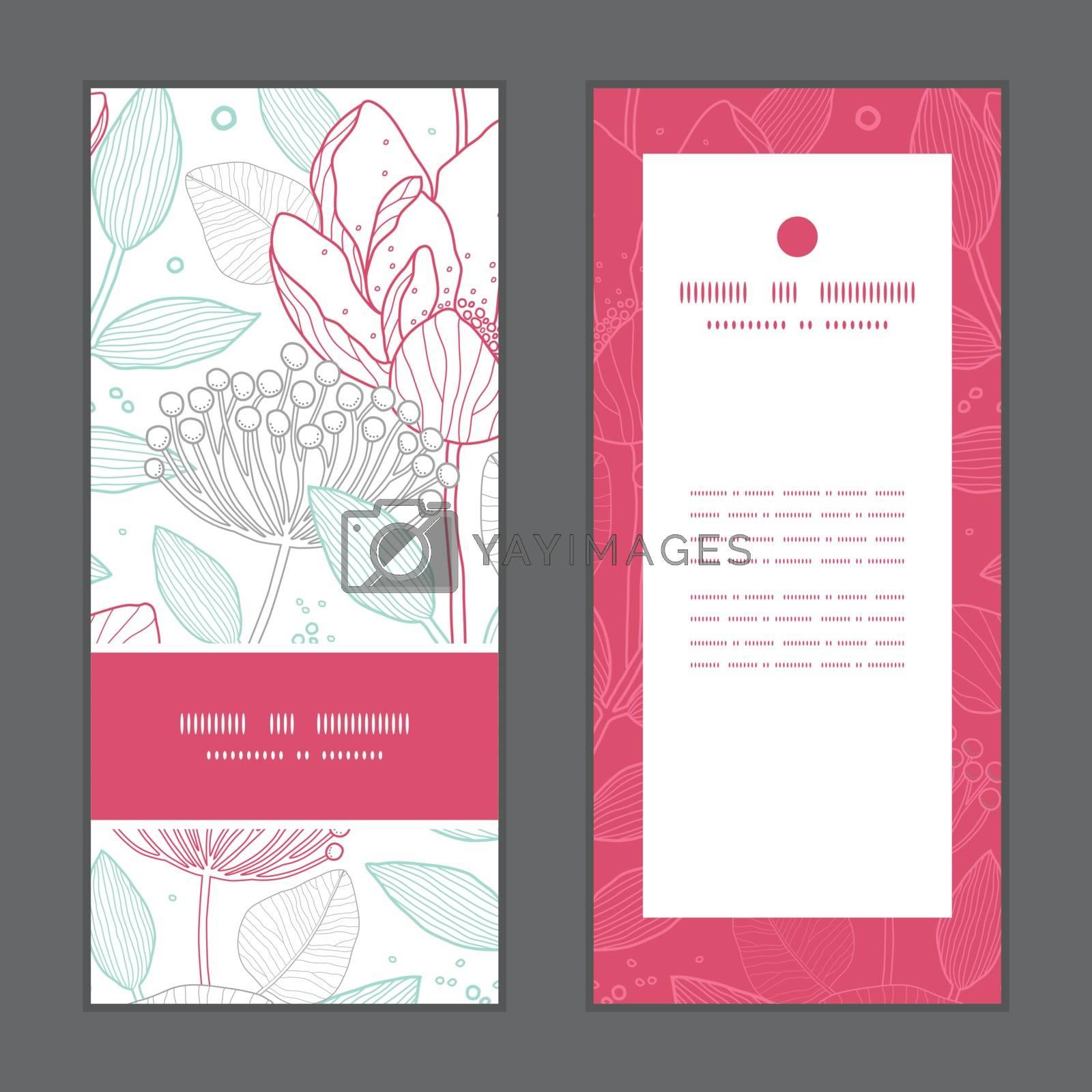 Vector modern line art florals vertical frame pattern invitation greeting cards set graphic design