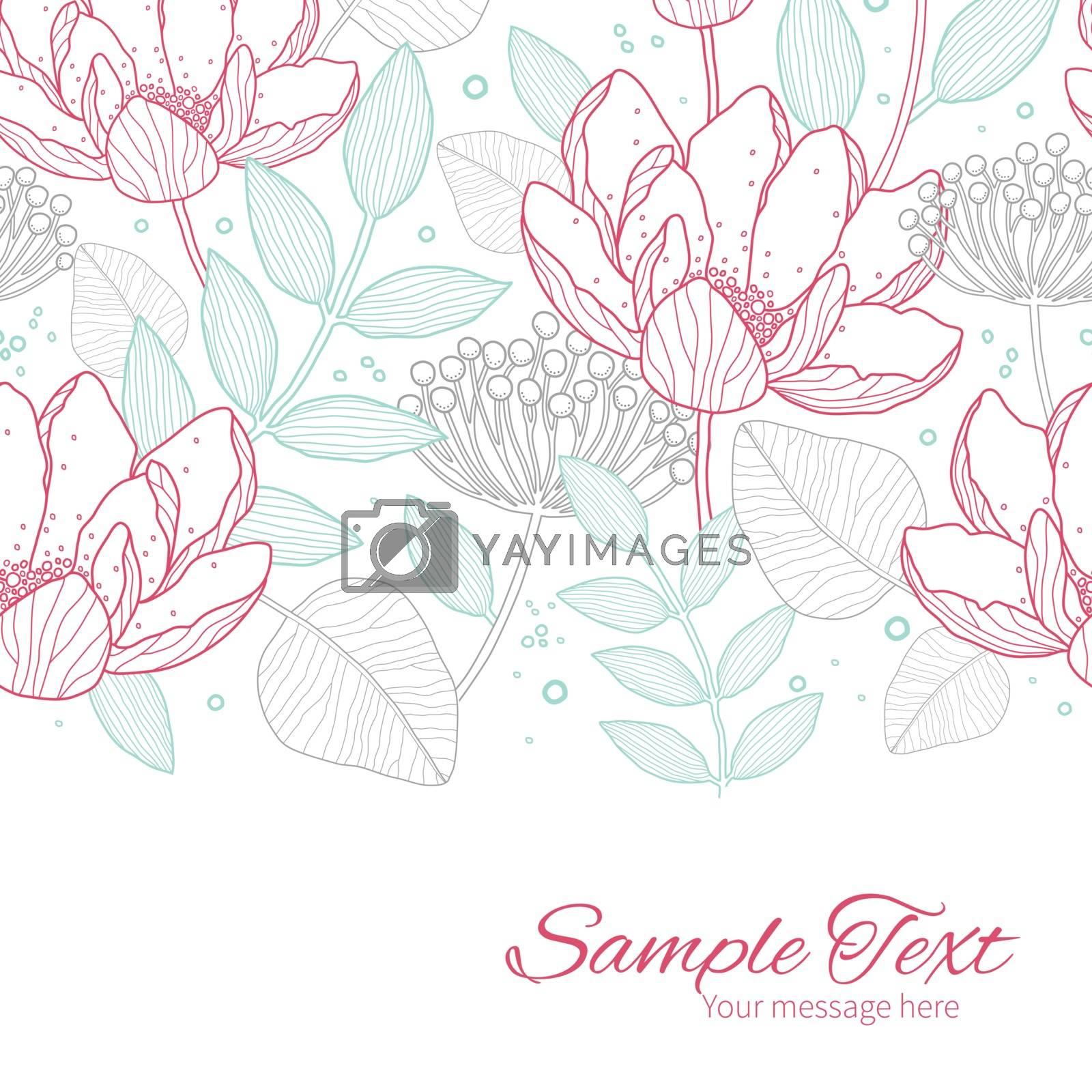 Vector modern line art florals horizontal border card template graphic design