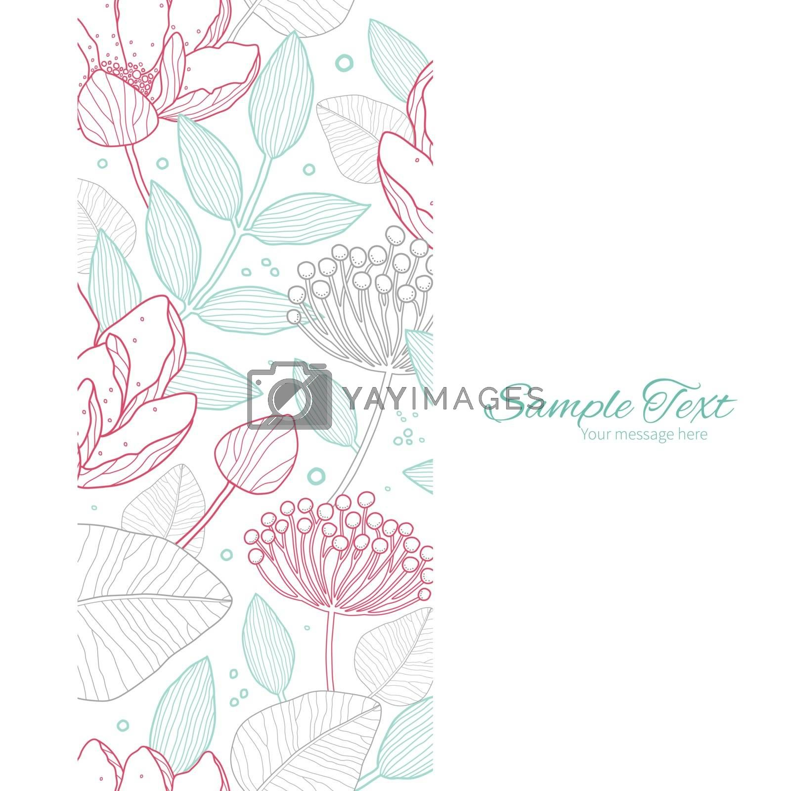 Vector modern line art florals vertical frame seamless pattern background graphic design