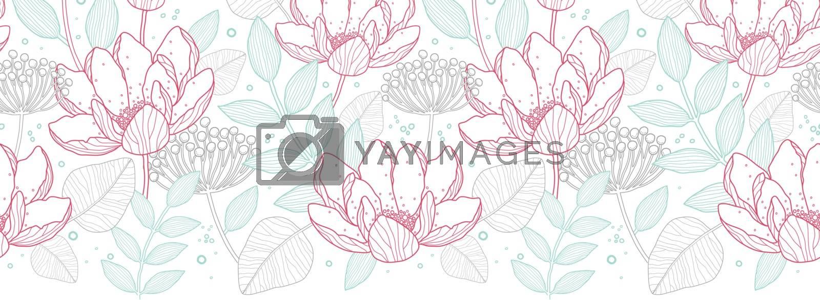 Vector modern line art florals horizontal border seamless pattern background graphic design