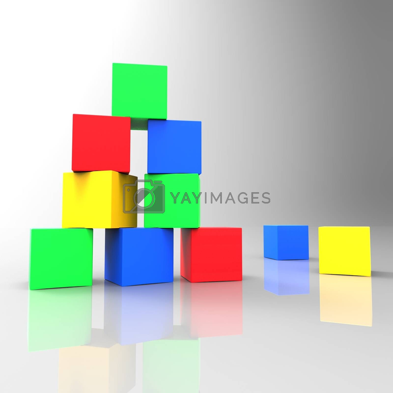 Kids Blocks Indicating Multicoloured Colour And Youngsters