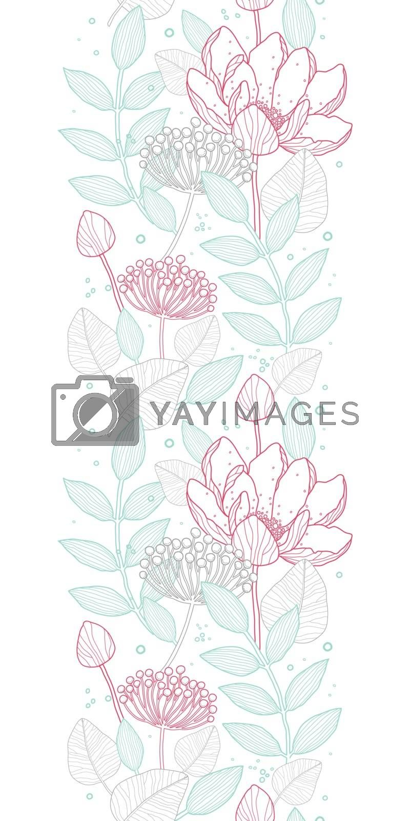 Vector modern line art florals vertical border seamless pattern background graphic design