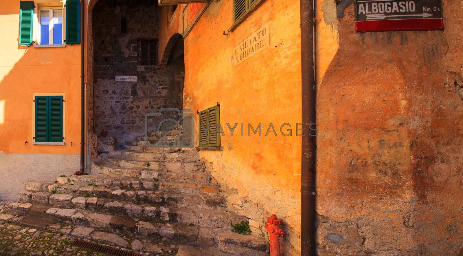 View of medieval town in Italy