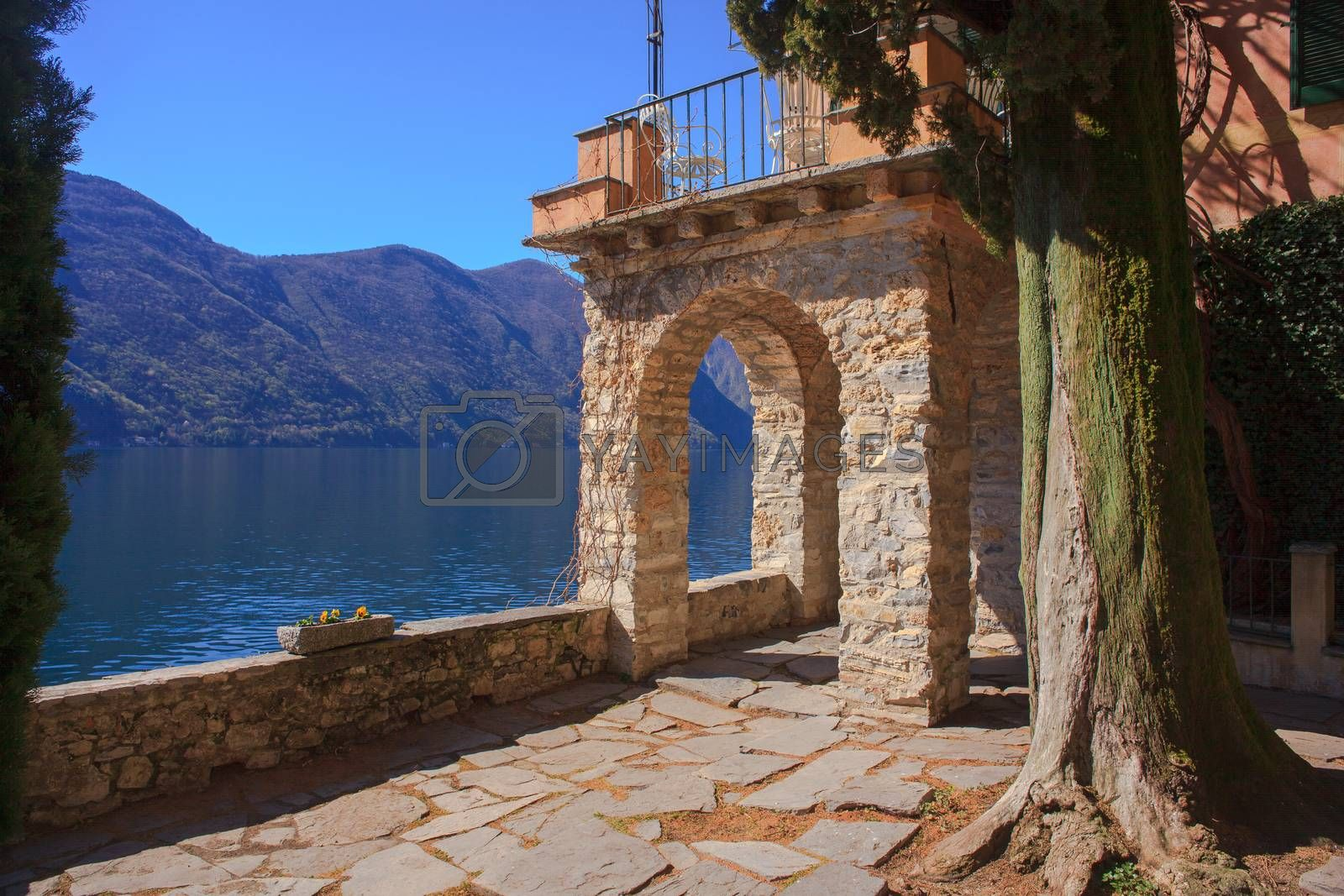 View of arch next to the Lugano lake