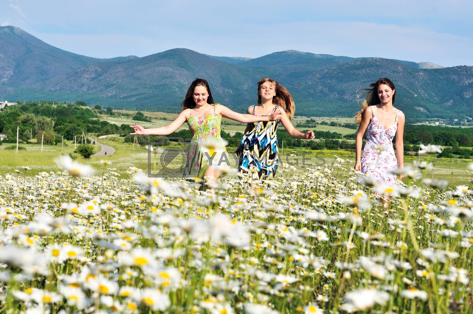 teen happy girls running in daisy field