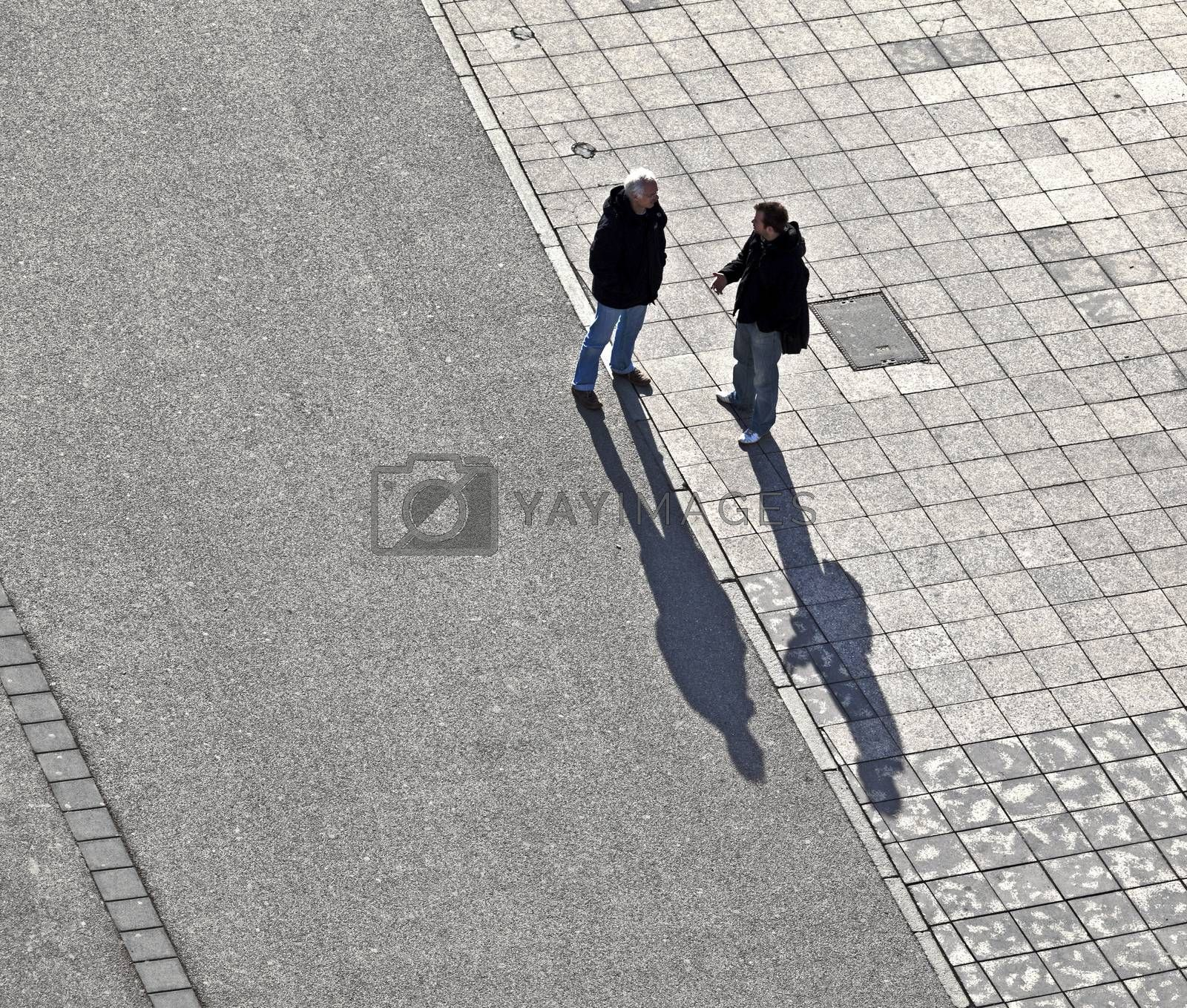 FRANKFURT, GERMANY - FEB 9, 2014: people walk in early morning along the pedestrian zone  in Frankfurt, Germany. It was inauguratet in Feb 2009 and guarantees a full downtown pedestrian zone.