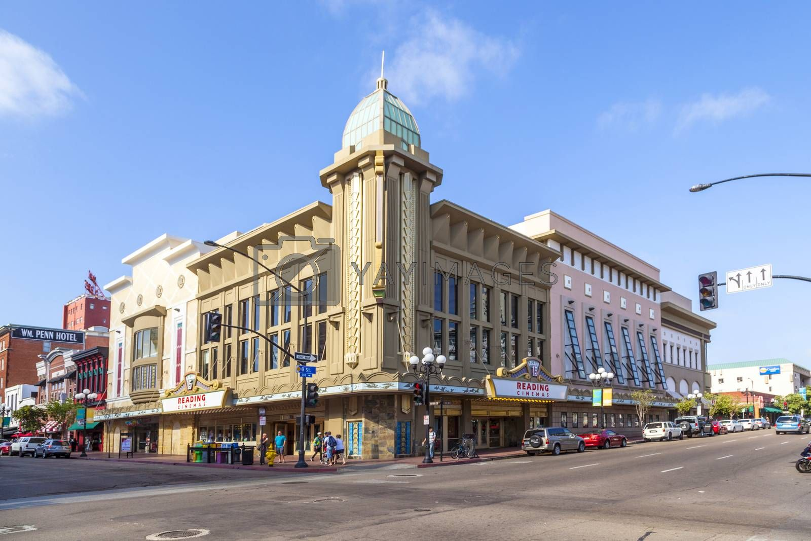 SAN DIEGO, USA - JUNE 11, 2012: facade of historic cinema Gaslamp  in San Diego, USA. Since 2010, it is operated by Reading Cinemas ansd still serves as cinema.