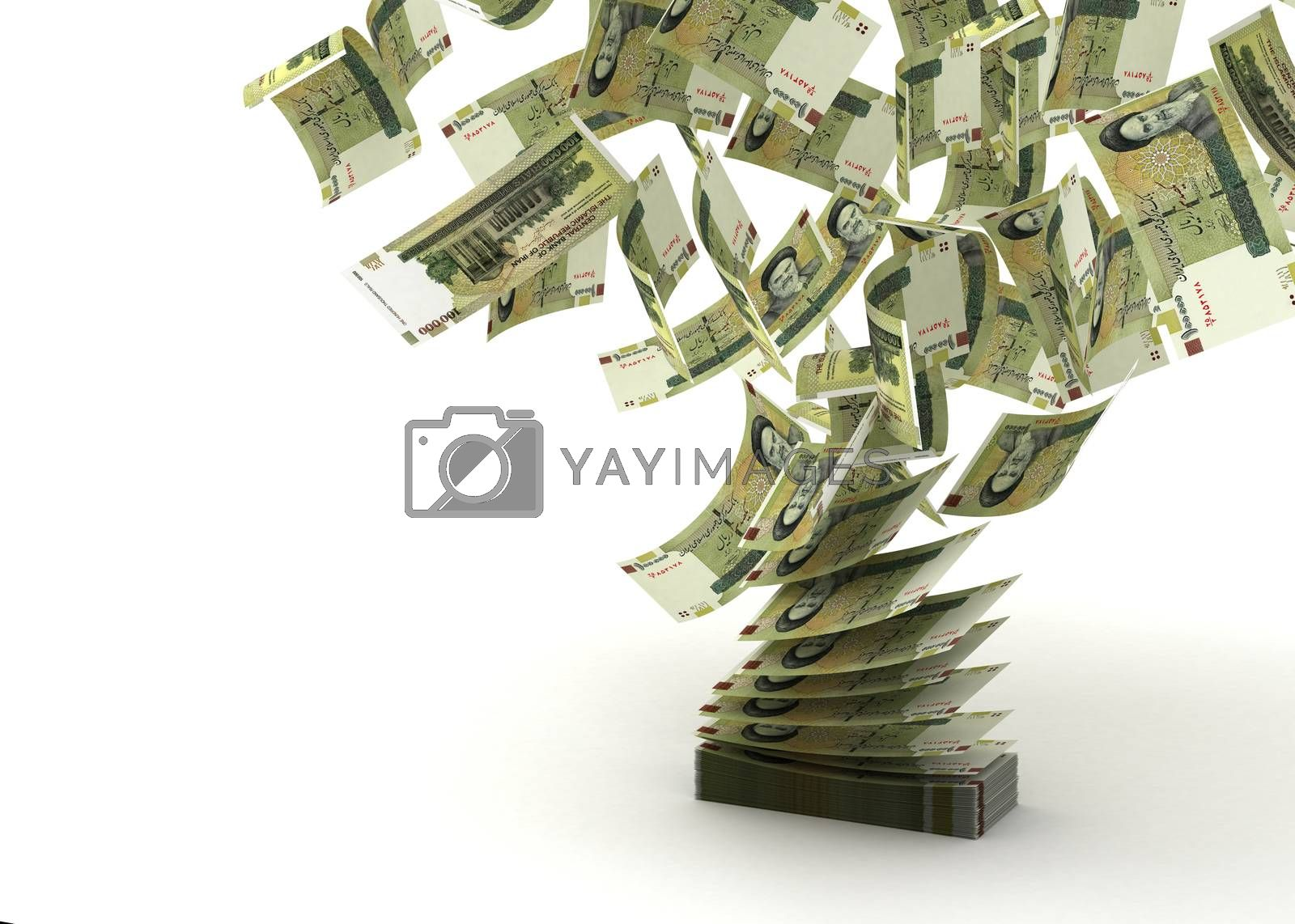 Flying Iranian Rial (isolated with clipping path)