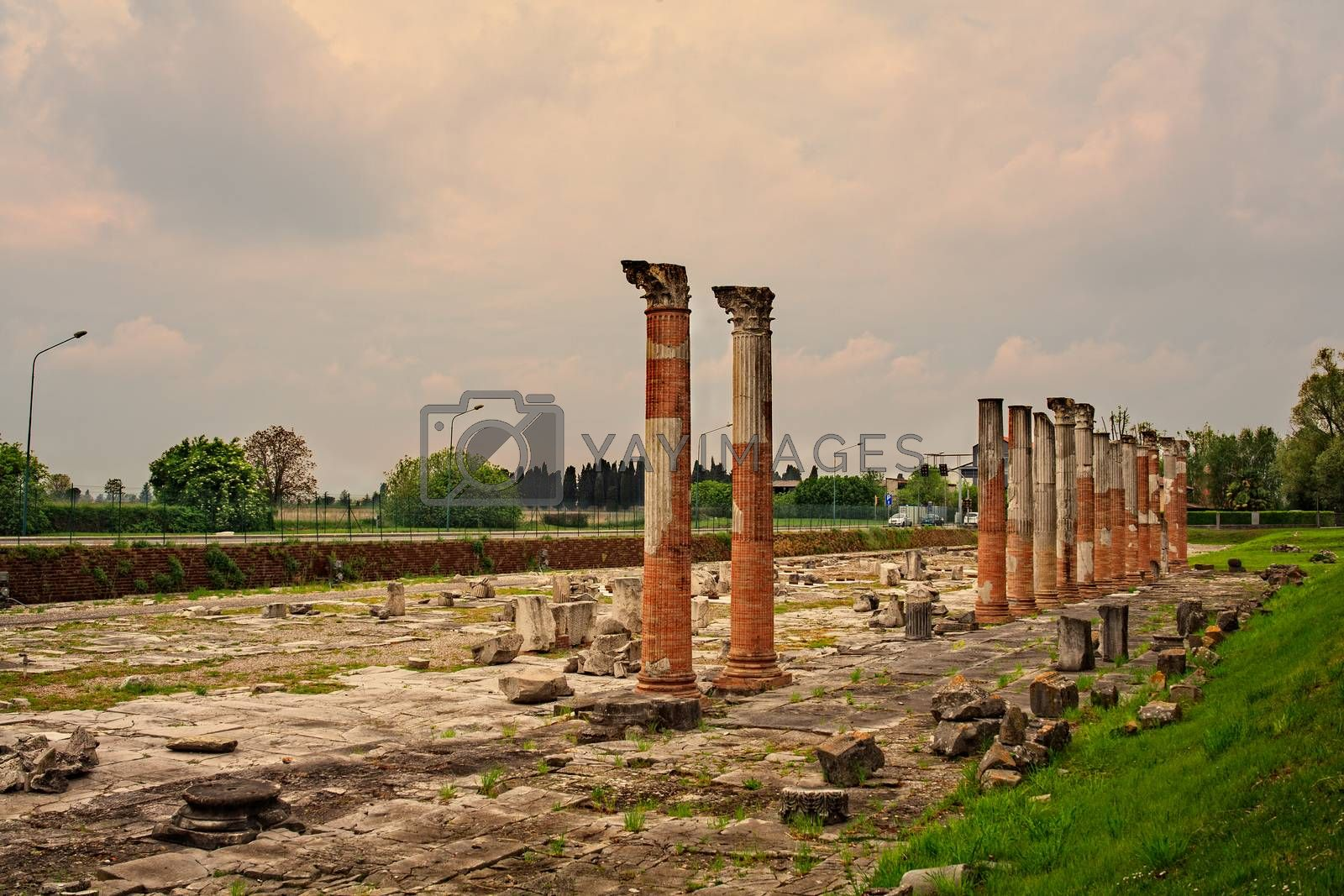 View of columns, Roman ruins on Archeological area of Aquileia in Italy