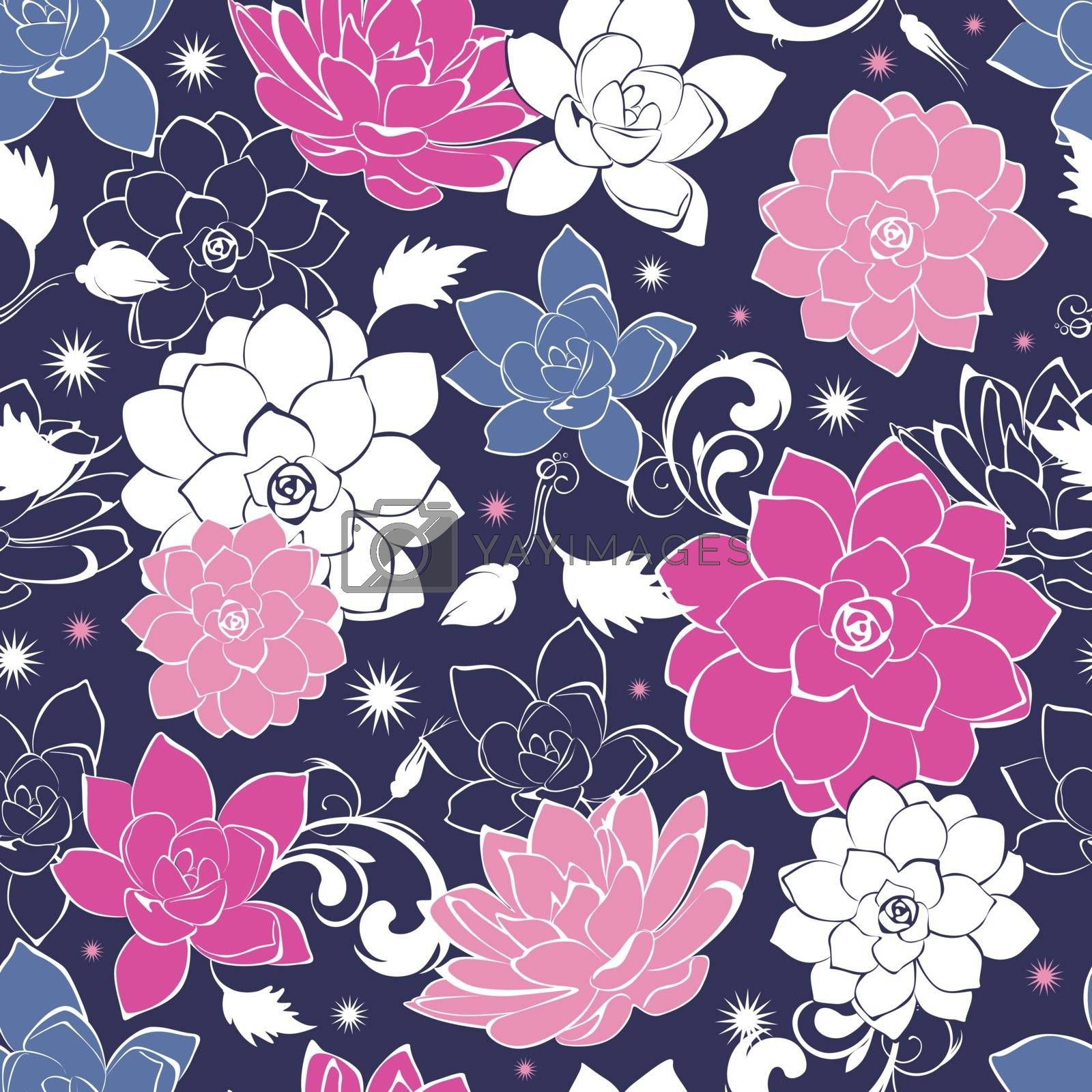 Dark grey pink floaral seamless pattern graphic design