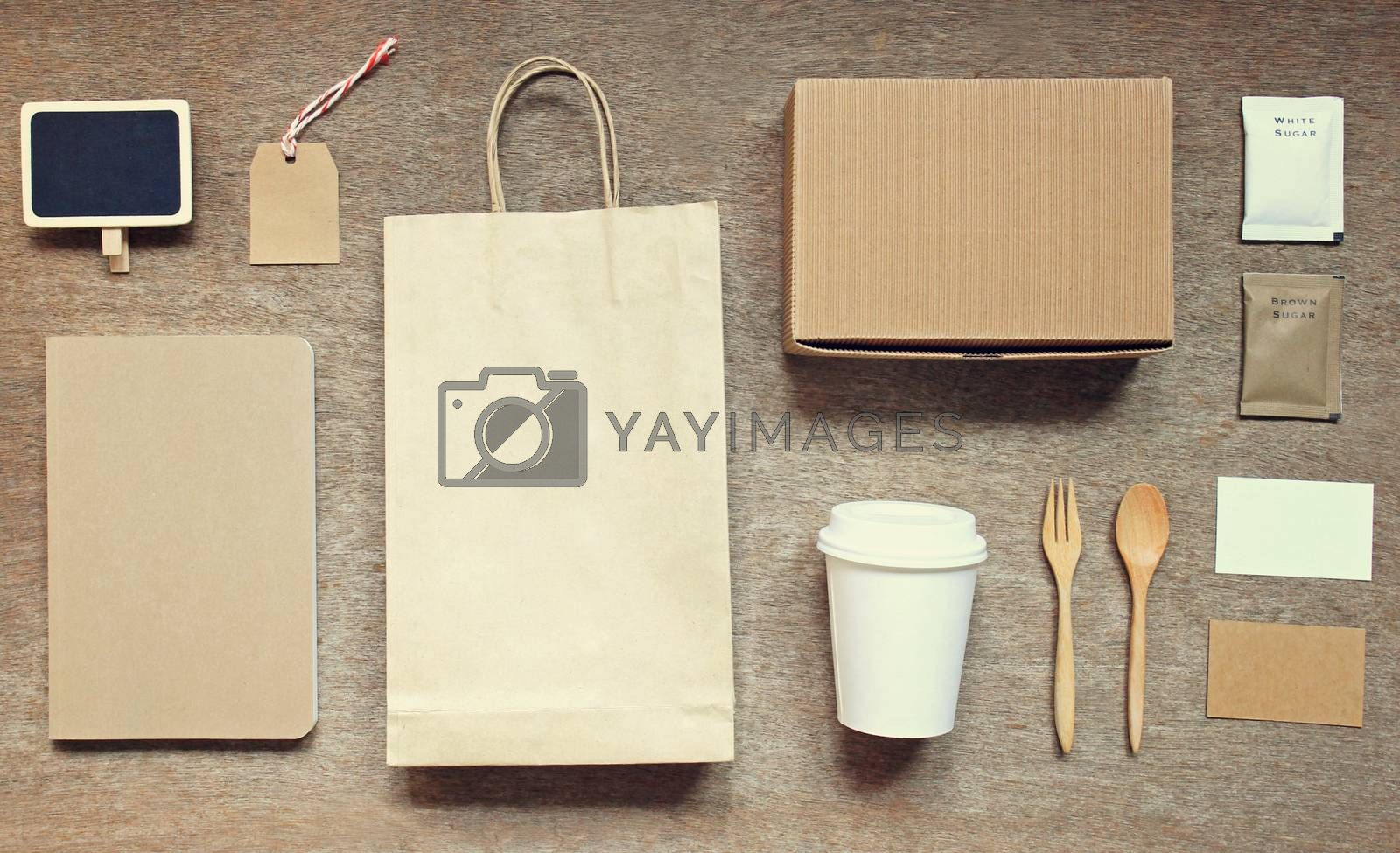 Coffee identity branding mockup set top view with retro filter effect