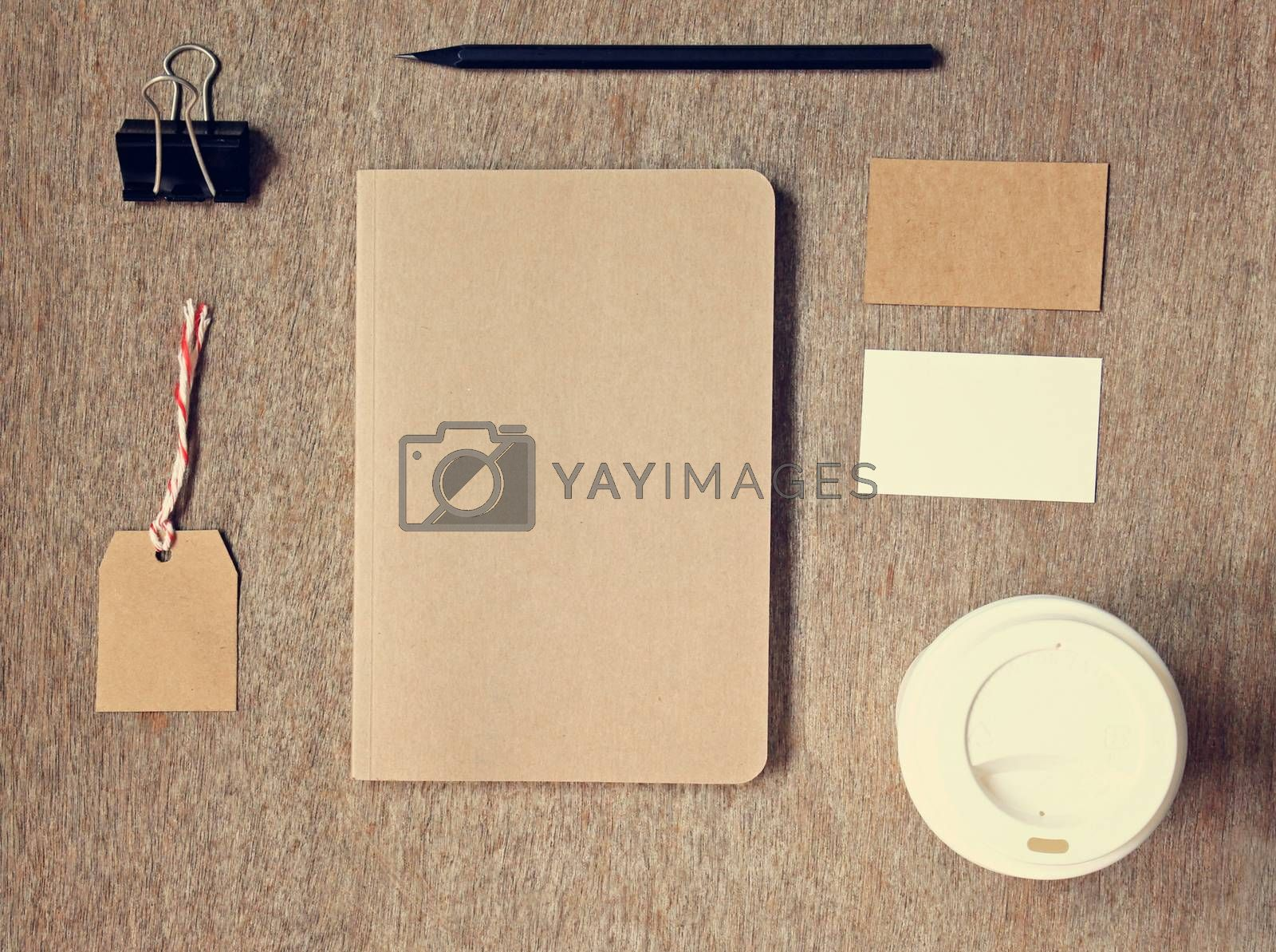 Business identity branding mockup set top view with retro filter effect