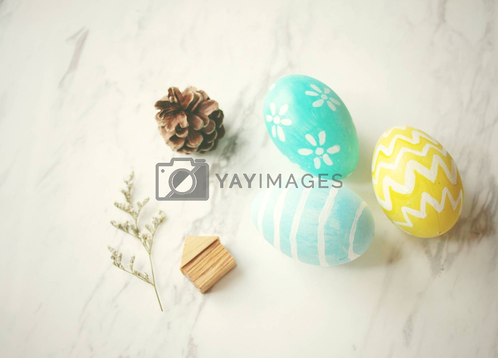Pastel easter eggs with cute decorated, retro filter effect
