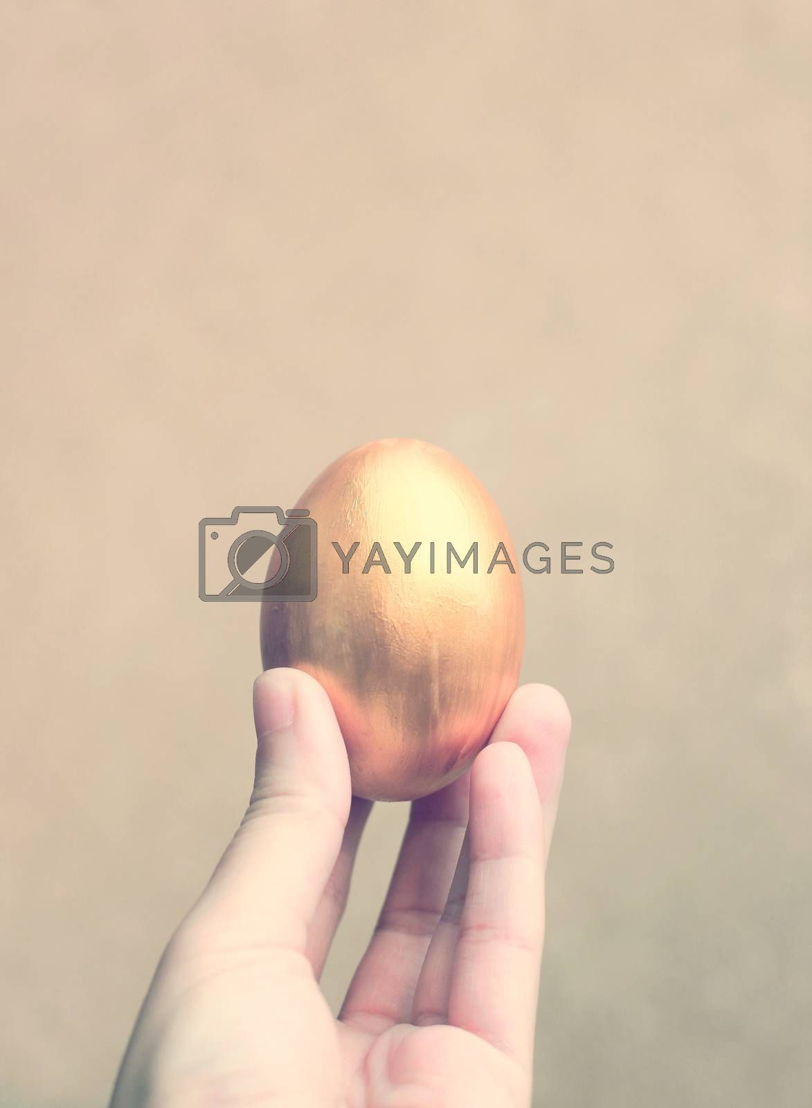 Hand holding easter egg with retro filter effect