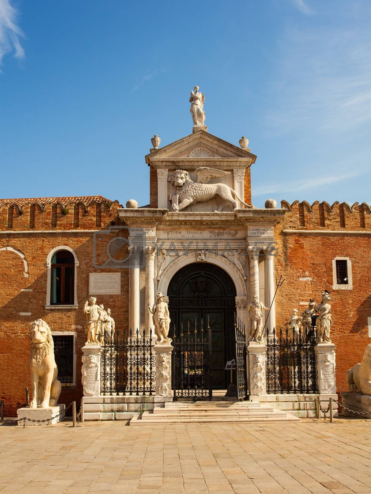 View of the historic Arsenale in Venice