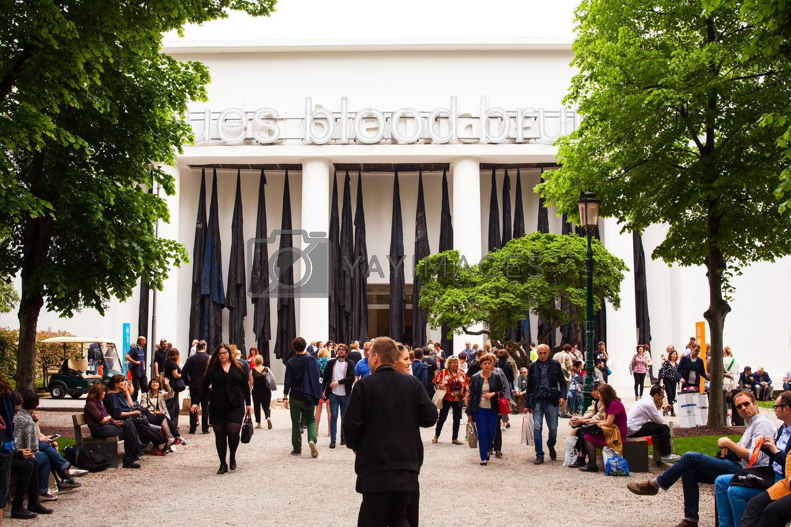 VENICE, ITALY - MAY 06: Entrance of Italian Pavilion at the 56th Art exhibition of Venice biennale on May 06, 2015