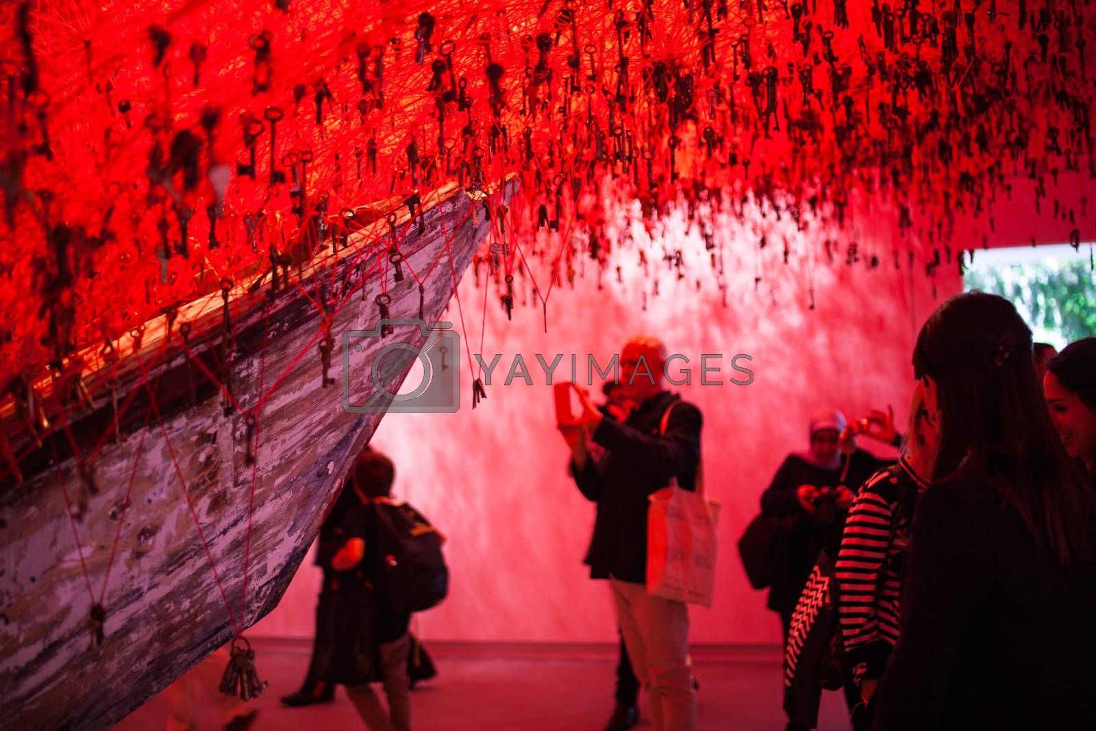 """VENICE, ITALY - MAY 06: """"The Key in the Hand""""  installation by Chiharu Shiota in the Japan National Pavilion at the 56 th Art exhibition of Venice biennale on May 06, 2015"""