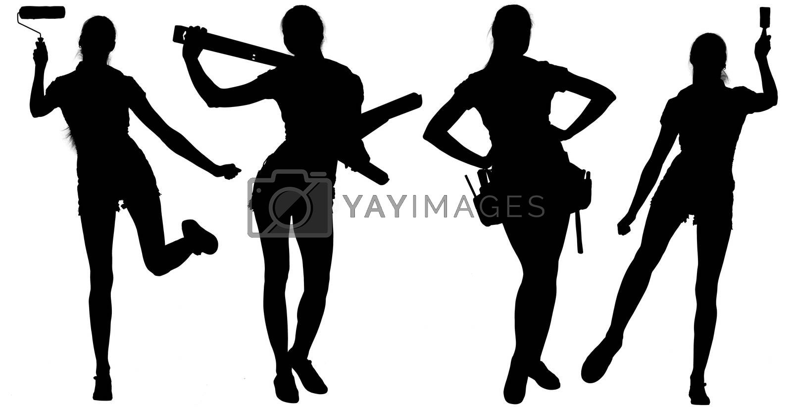 Female silhouettes with tools. Isolated white background