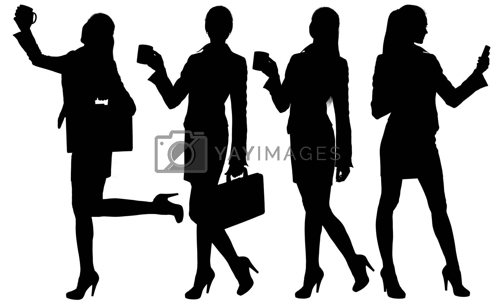 Business woman silhouette with briefcase and mug. Isolated white background