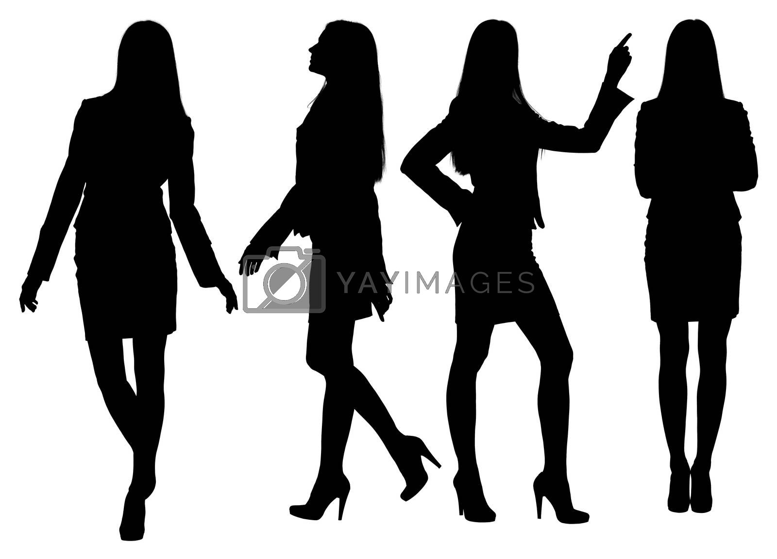 Business woman standing silhouette. Isolated white background