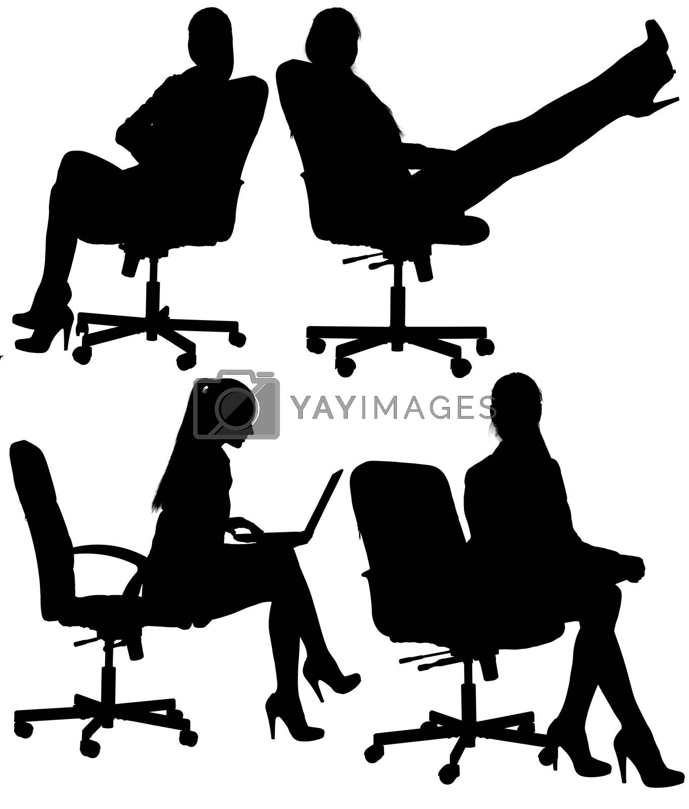 Business woman to sit in an office chair silhouette. Isolated white background