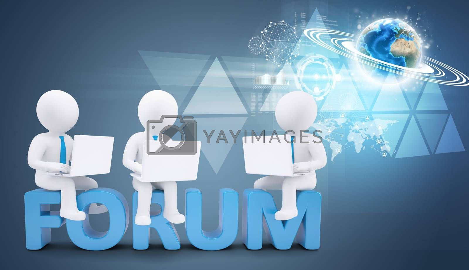 Team of white people with ties and laptops sitting on forum. Background earth globe with wire-frame. Elements of this image furnished by NASA