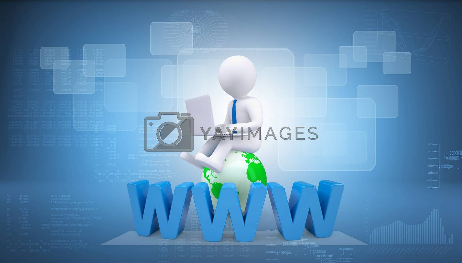 Graphic man with tie sitting on globe. Background of letters www and virtual screens
