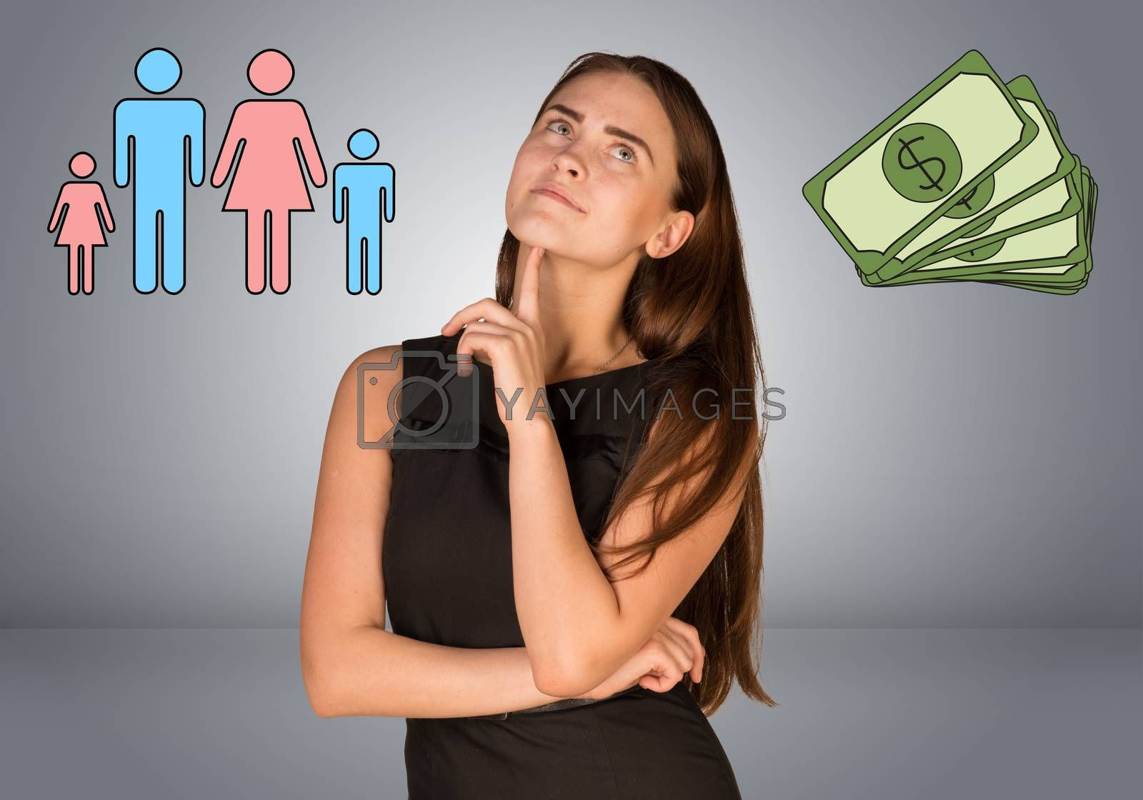Beautiful business woman with money and family. Gray gradient background