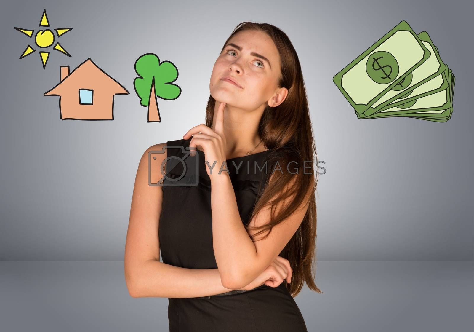 Beautiful business woman thinking over money and house with tree. Gray gradient background