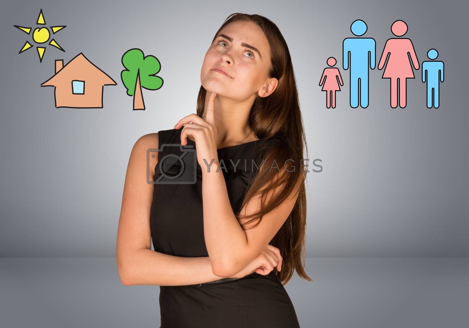 Beautiful business woman thinking over family and house with tree. Gray gradient background