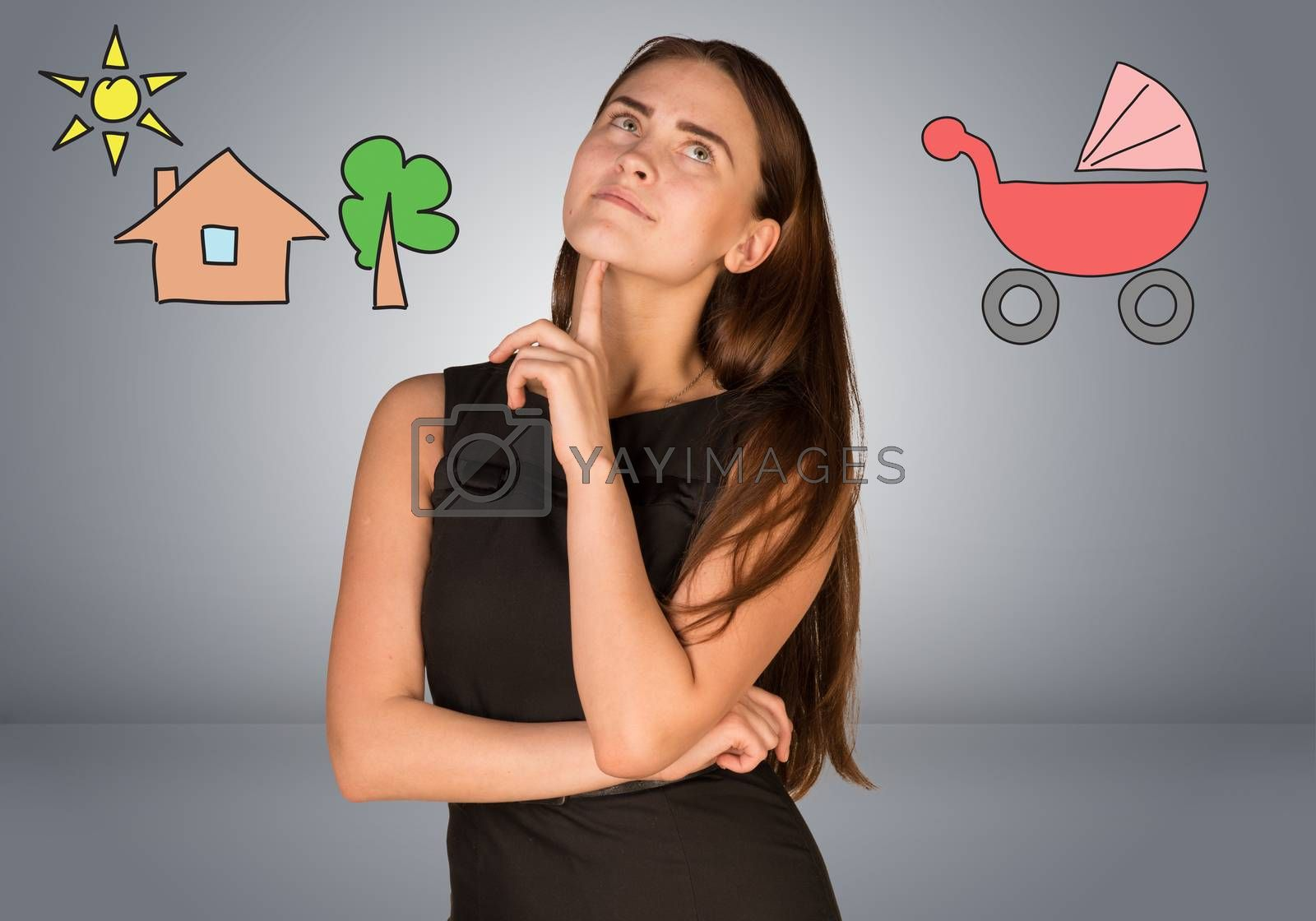 Business woman thinking over buggy and house with tree. Gray gradient background