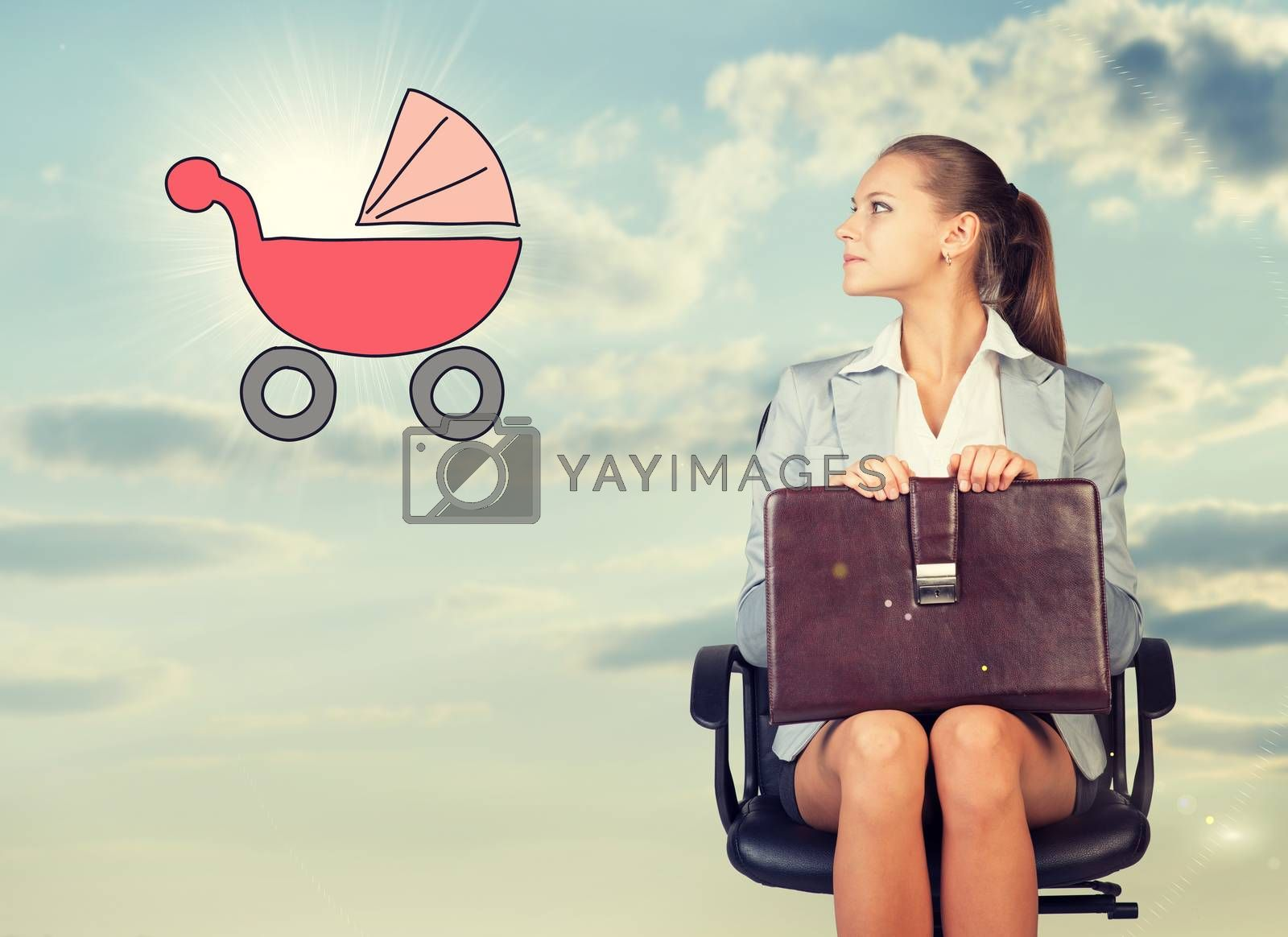 Business woman in skirt, blouse and jacket, sitting on chair and holding briefcase imagines buggy. Against background of sky and clouds