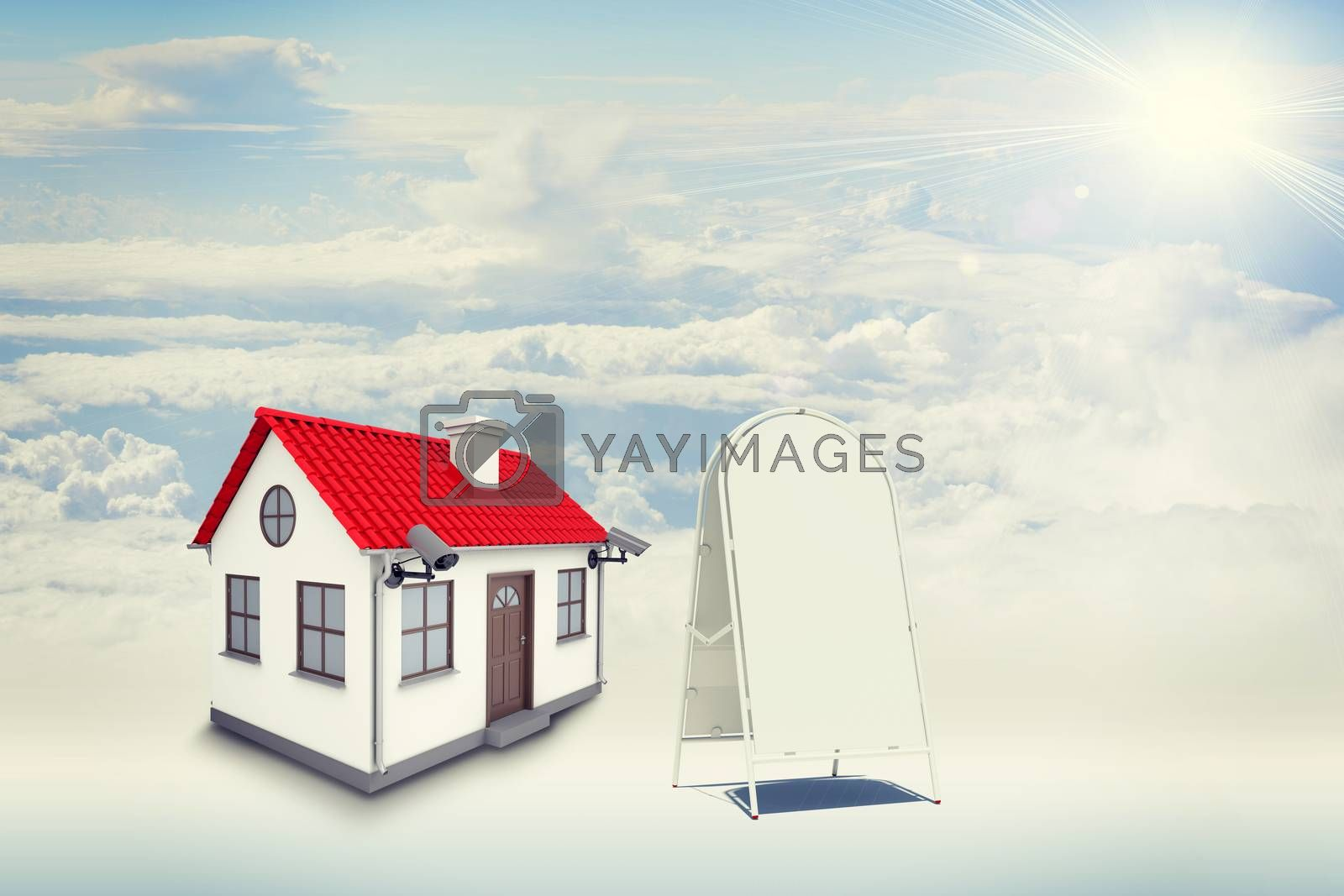 White house with red roof, brown door, chimney and outward chambers in clouds. Near with house sidewalk sign. Background sun shines brightly on large clouds