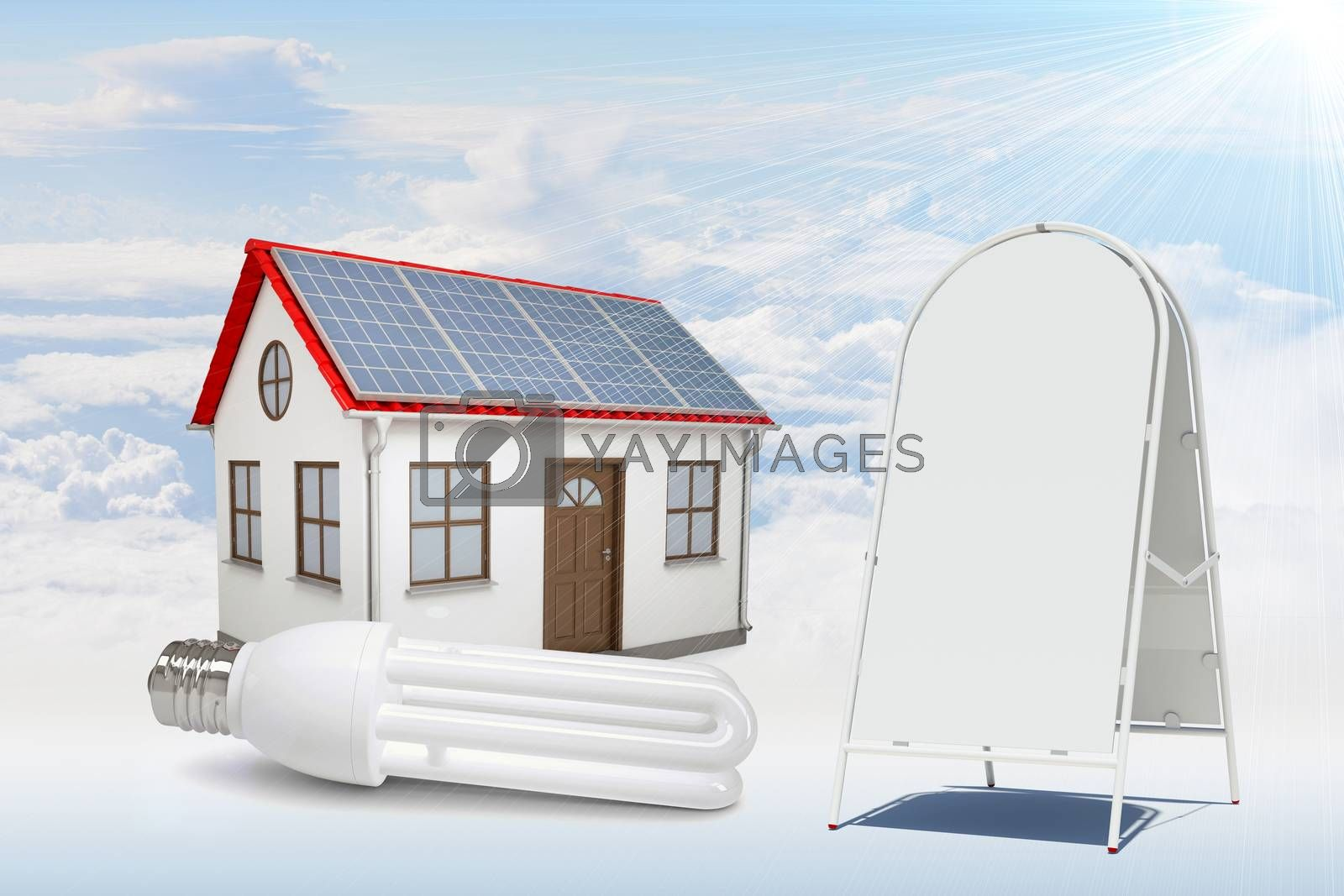 White house with red roof, brown door and solar panels in clouds. Near with house sidewalk sign. Background sun shines brightly on large clouds
