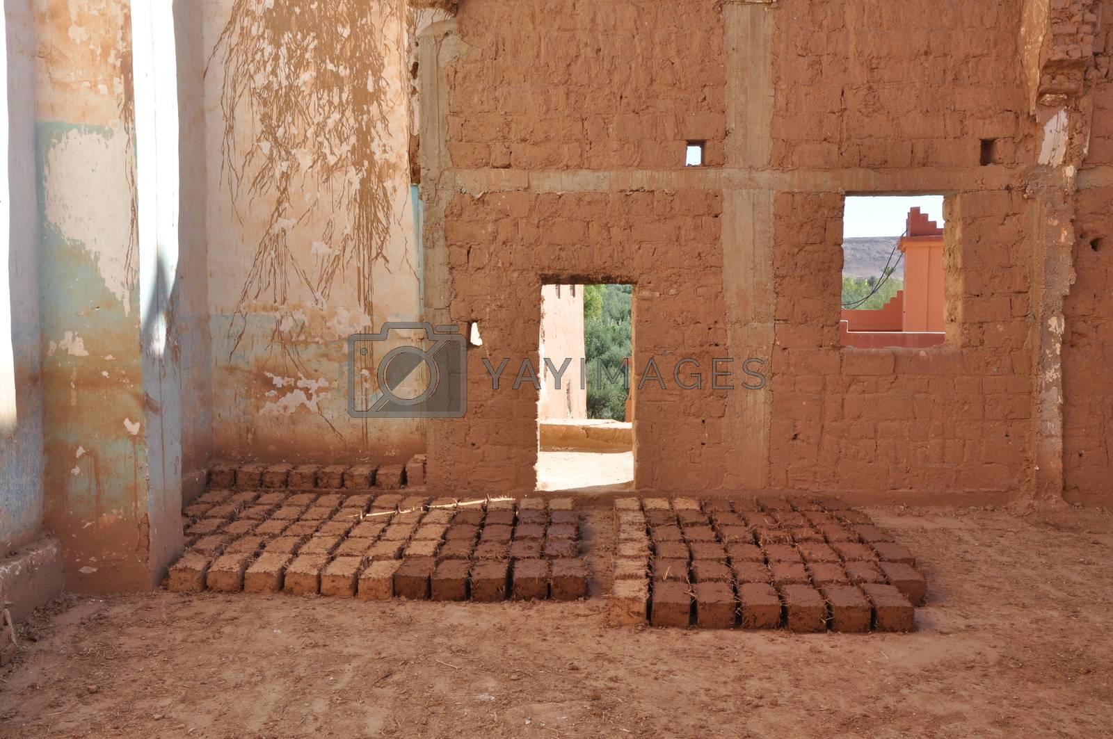 Mud bricks ready to use