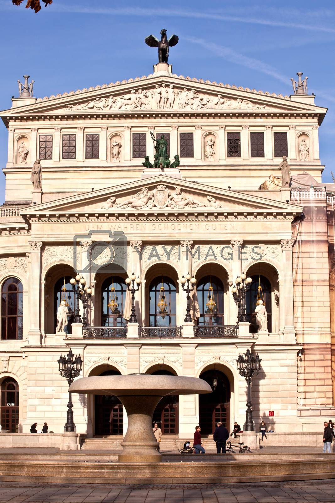 FRANKFURT, GERMANY - FEB 9, 2011: the Old opera house in Frankfurt, Germany. Alte Oper is a concert hall build in 1970s on the site of and resembling the old Opera House destroyed in 1944.