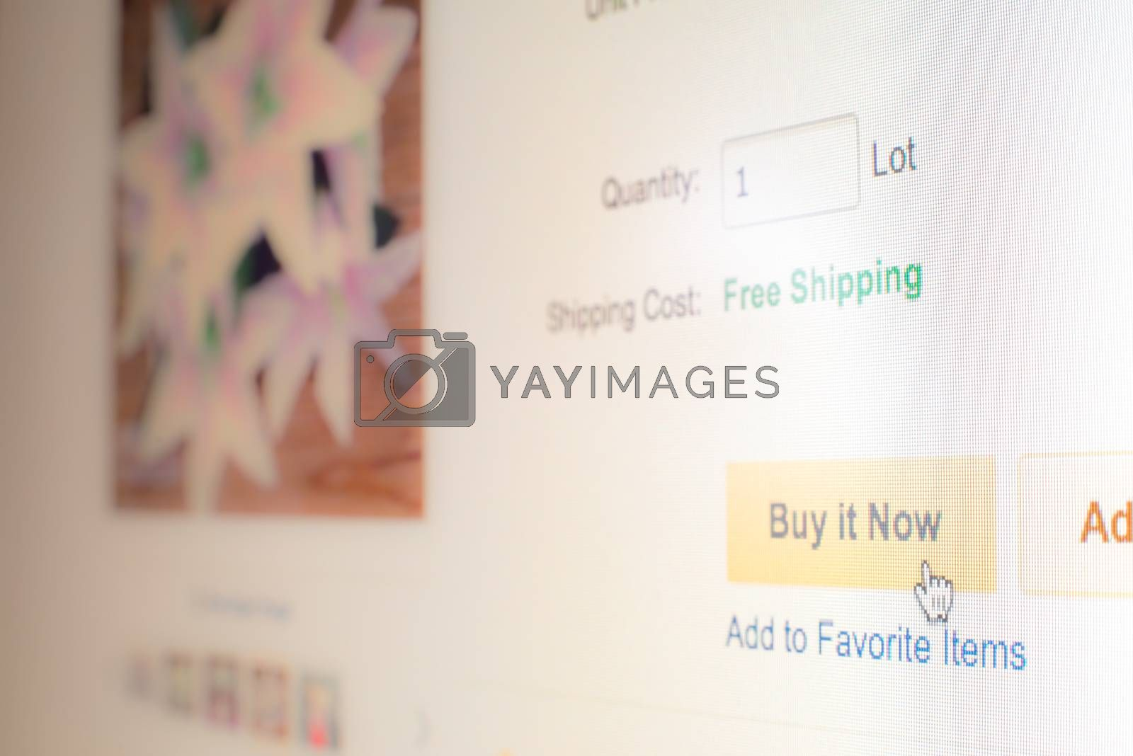"""Royalty free image of Mouse clicking """"buy it now"""" button on website by iamway"""