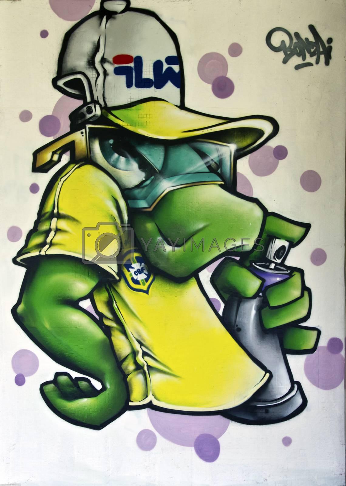 SAO PAULO, BRAZIL - MAY 30, 2015: An detail of one mural with graffiti of painter Dave Bonzai at III Bienal Graffiti Fine Art in Ibirapuera Park, Sao Paulo, Brazil.