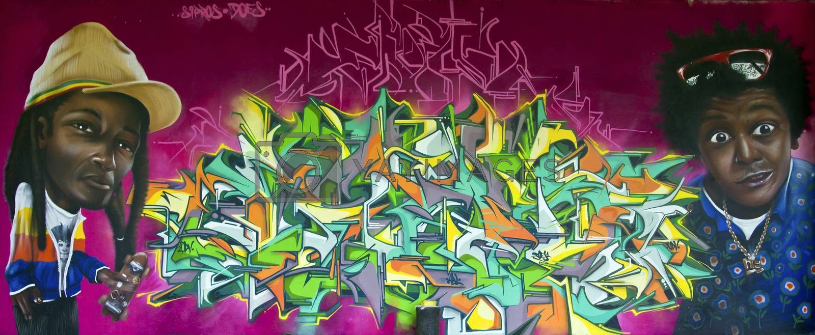 SAO PAULO, BRAZIL - MAY 30, 2015: An mural with graffiti of painter Sipros Naberezny at III Bienal Graffiti Fine Art in Ibirapuera Park, Sao Paulo, Brazil.