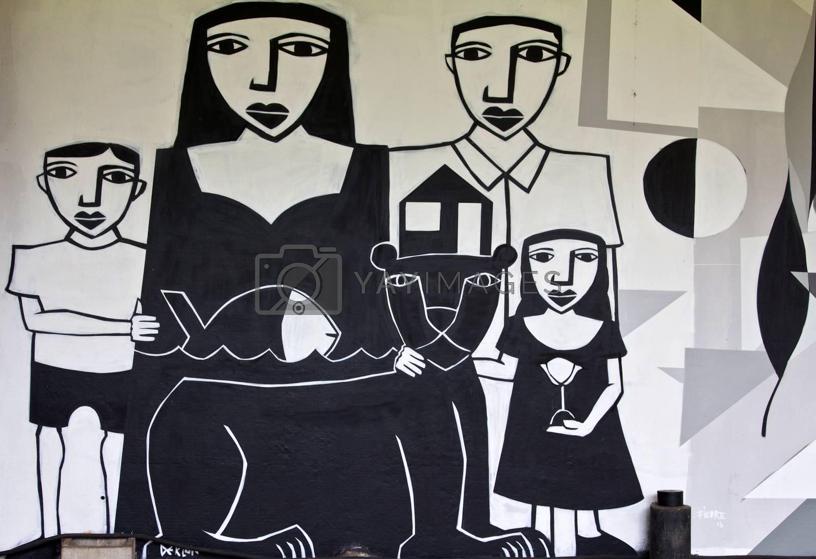 SAO PAULO, BRAZIL - MAY 30, 2015: An detail of one mural with graffiti of painter Derlon Almeida at III Bienal Graffiti Fine Art in Ibirapuera Park, Sao Paulo, Brazil.