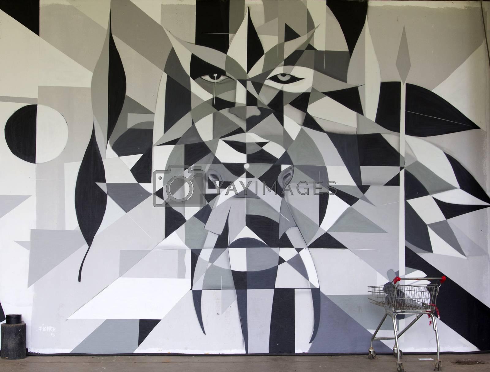 SAO PAULO, BRAZIL - MAY 30, 2015: An detail of one mural with graffiti of painter Ficore at III Bienal Graffiti Fine Art in Ibirapuera Park, Sao Paulo, Brazil.